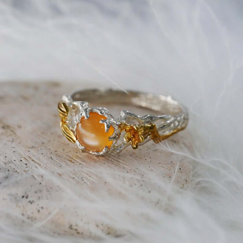 Peach color moonstone ring