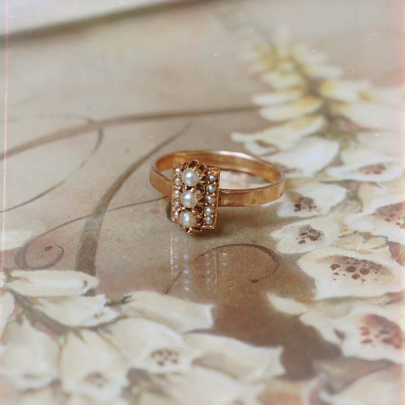 Pearl ring is a Victorian style ring