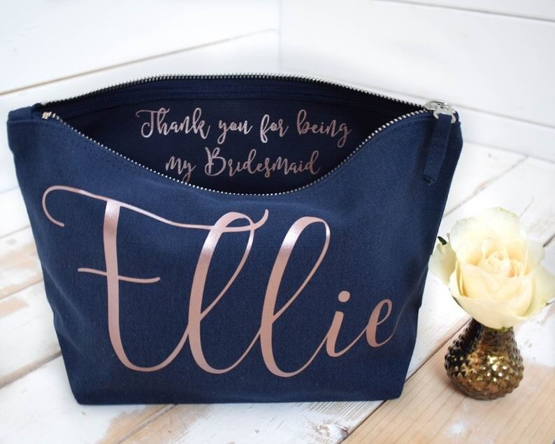 Wedding Thank you Gift  Personalised Bridesmaid Gift Make Up Navy