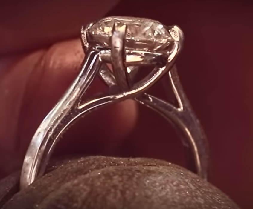 platinum engagement ring with patina