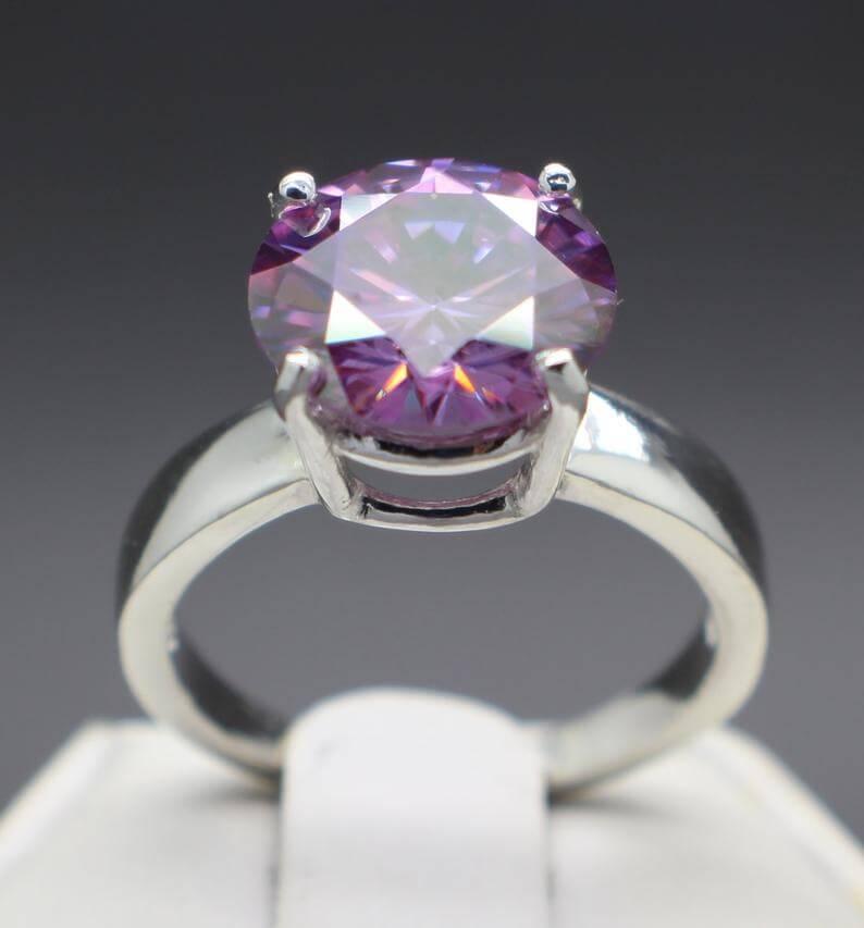 Purple diamond engagement ring