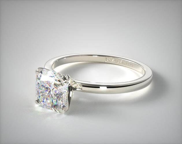 Radiant cut prong setting engagement ring in white gold