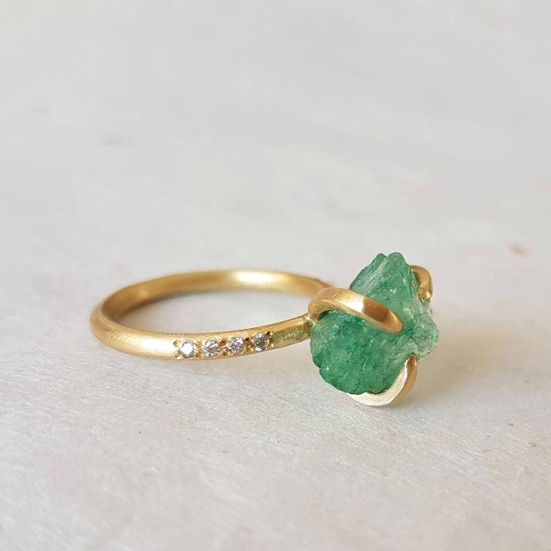 Rough emerald engagement ring