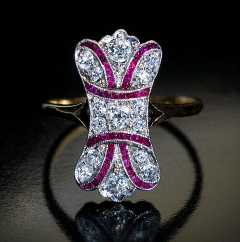Antique Edwardian Diamond Ruby Bow Motif Ring image 0