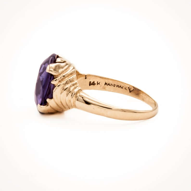 Lab created sapphire ring with 1940 setting