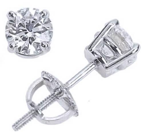 Screw back diamond stud earrings