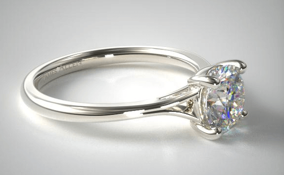 Shiny platinum engagement ring