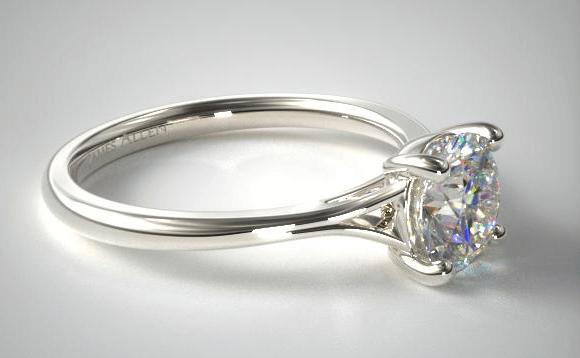 Shiny platinum engagement ring