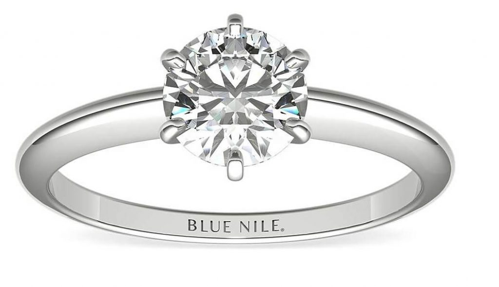 Side view solitaire 6 prong engagement ring