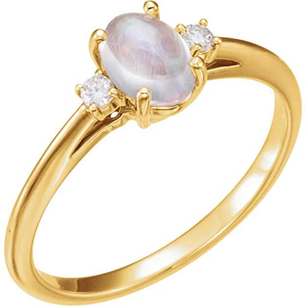 Solitaire rainbow moonstone ring