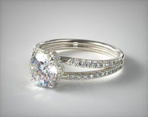 split shank setting engagement ring closeup