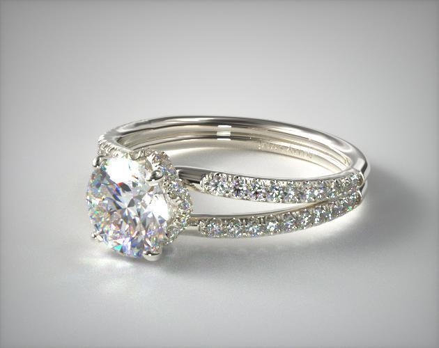 split shank setting engagement ring closeup