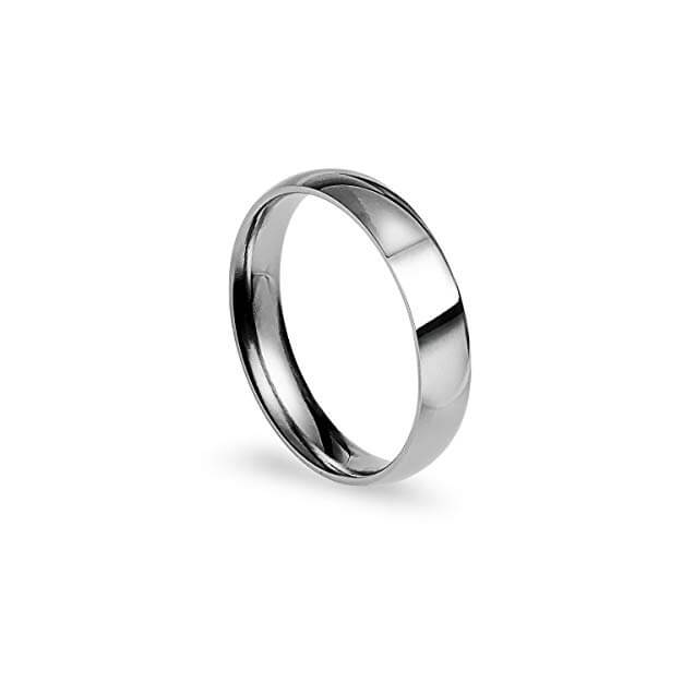 Stainless steel wedding band that will not tarnish