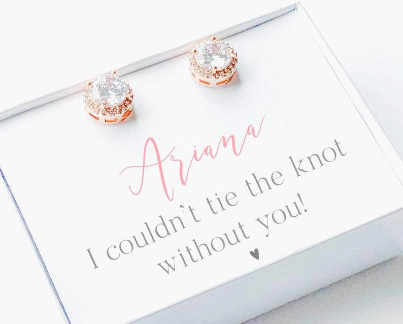 Stud earrings for bridesmaids gift