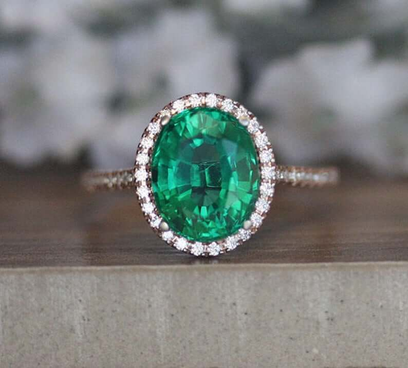 Synthetic emerald ring