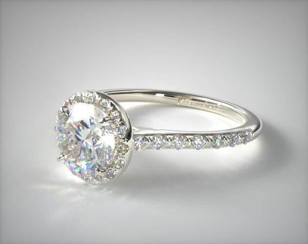 thin band halo setting engagement ring
