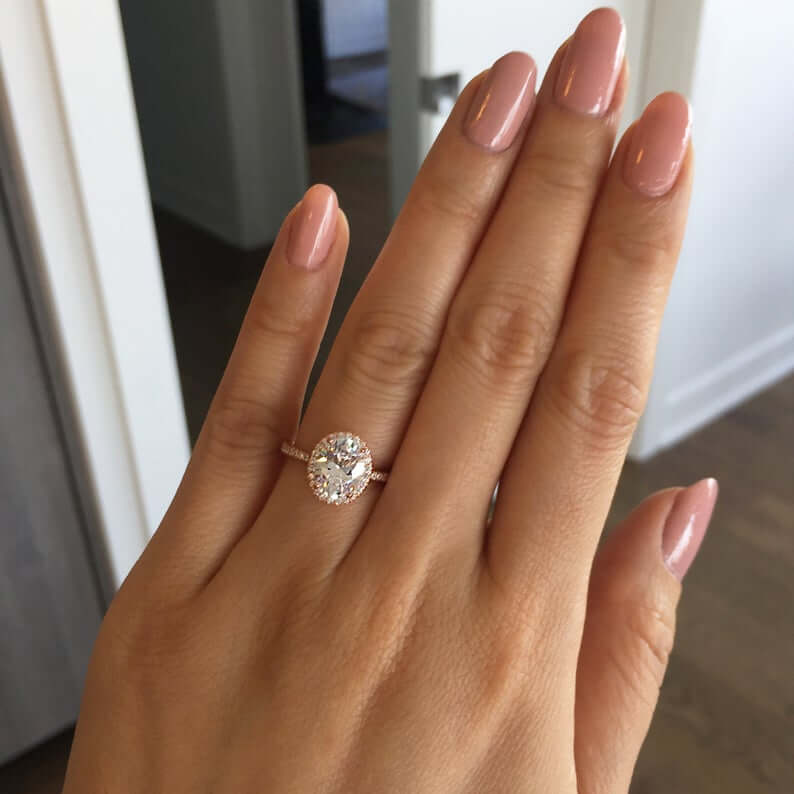 Thin band moissanite engagement ring