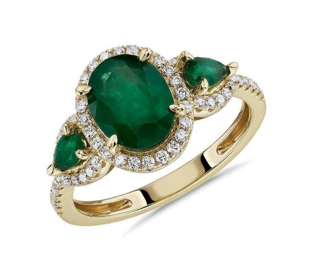 Emerald 3-stone engagement ring