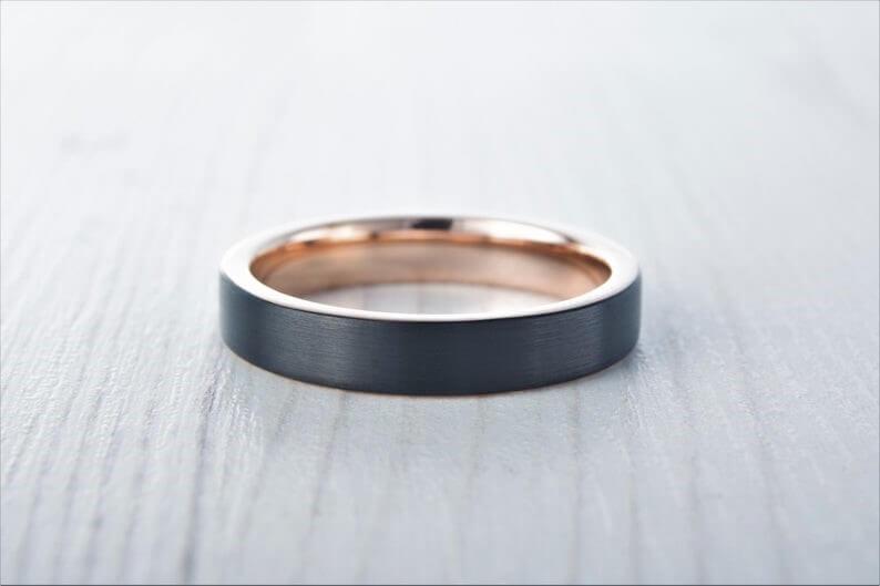 4mm wide Black Brushed titanium and 18k rose gold wedding ring image 0