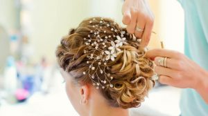 Bride with hair accessory