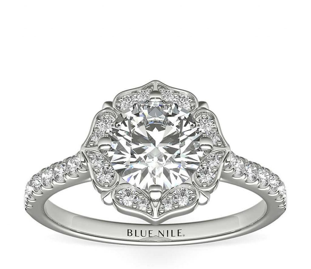 Vintage halo setting engagement ring