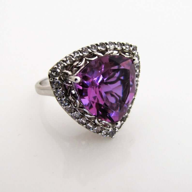 Vintage trillion amethyst engagement ring