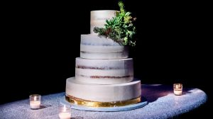 Wedding cake in black background