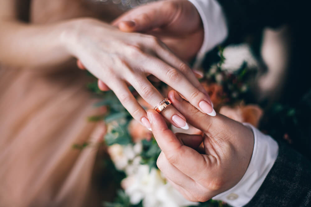 Wedding ring on right hand
