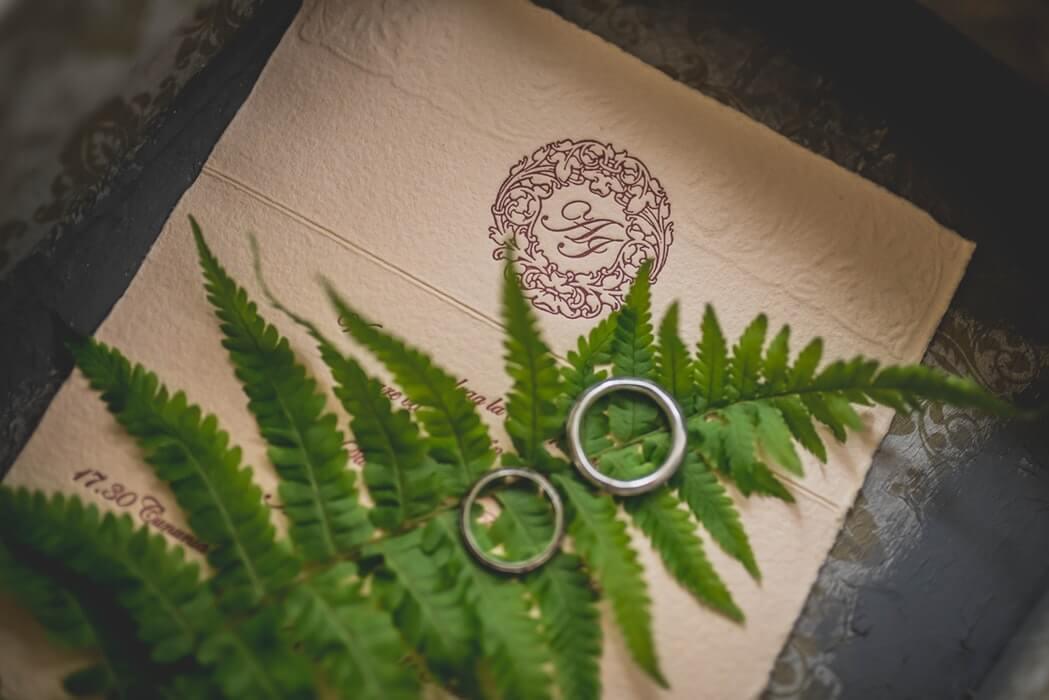 Platinum wedding rings on a leaf