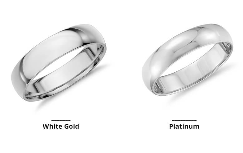 White gold and platinum wedding rings side by side