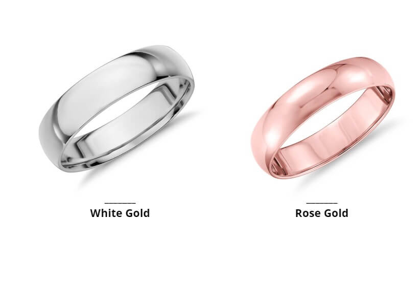 white gold rose gold rings side by side comparison