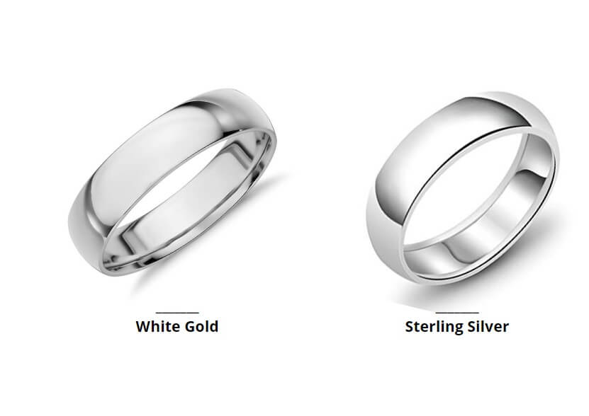 White gold and silver rings side by side