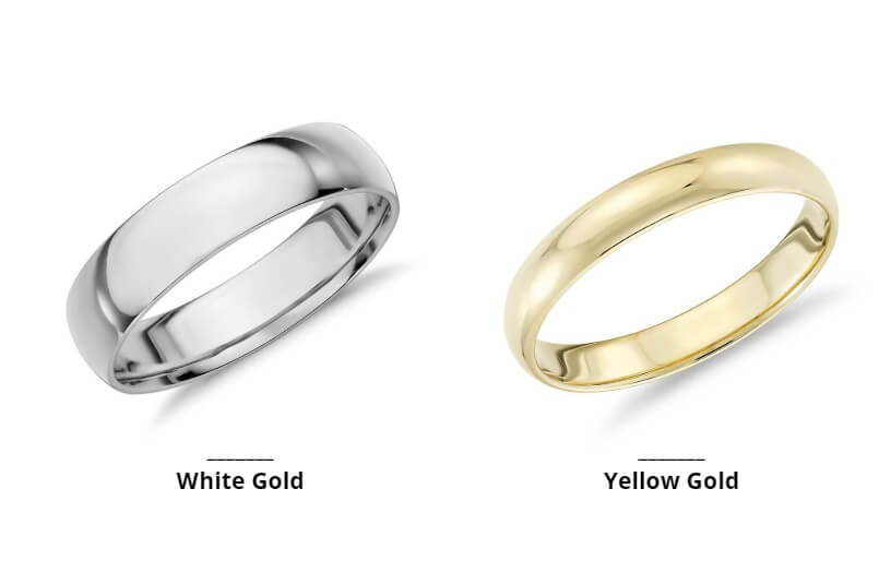 White gold and yellow gold wedding rings side by side
