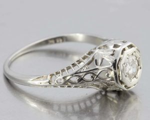 1920s engagement ring in white gold