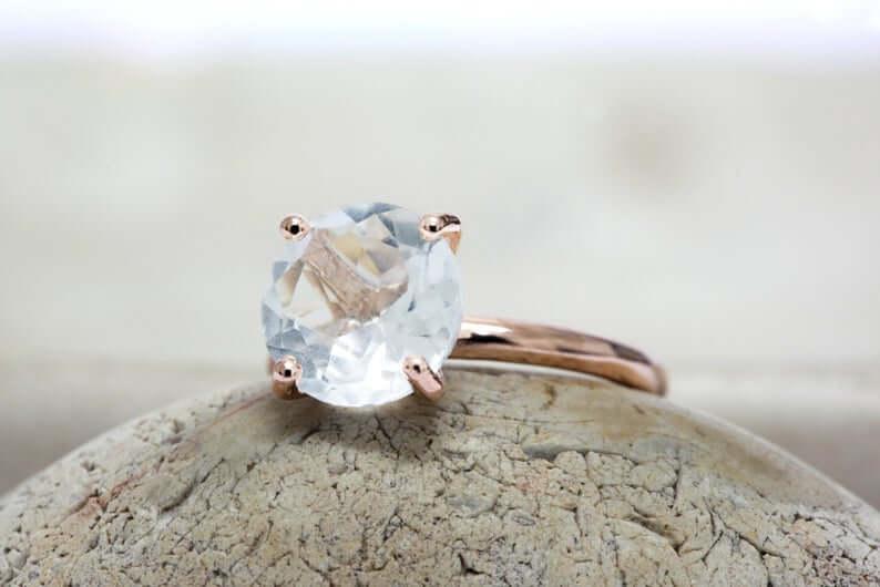 White quartz ring closeup