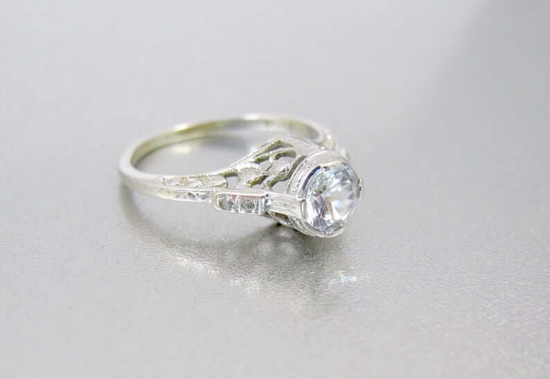 white spinel art deco style engagement ring