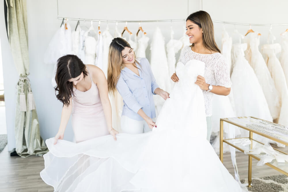Bride choosing her bridal underwear