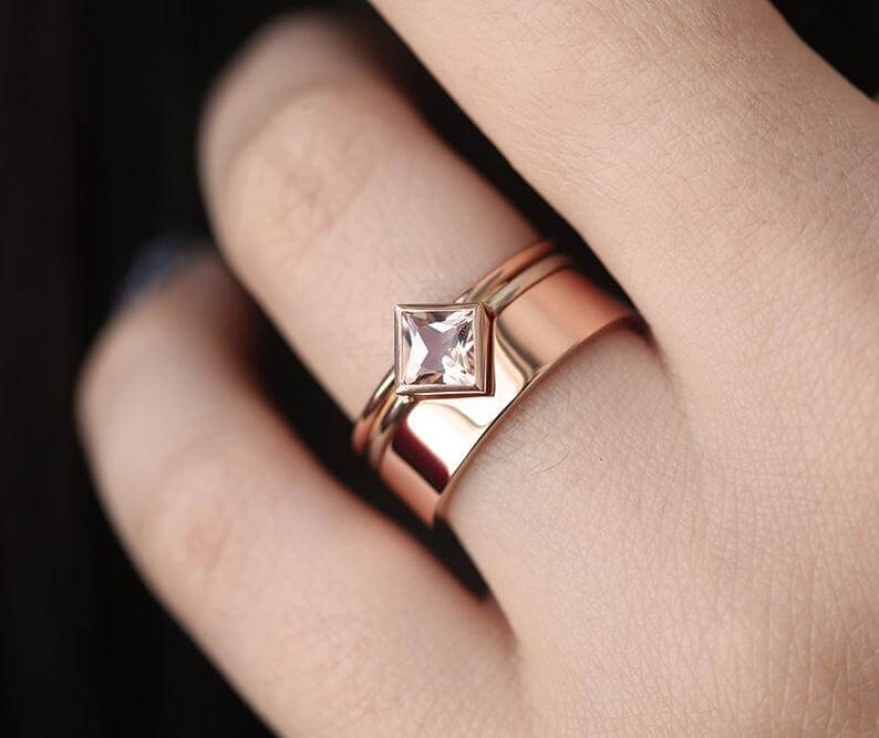 Wide thin engagement and wedding band set