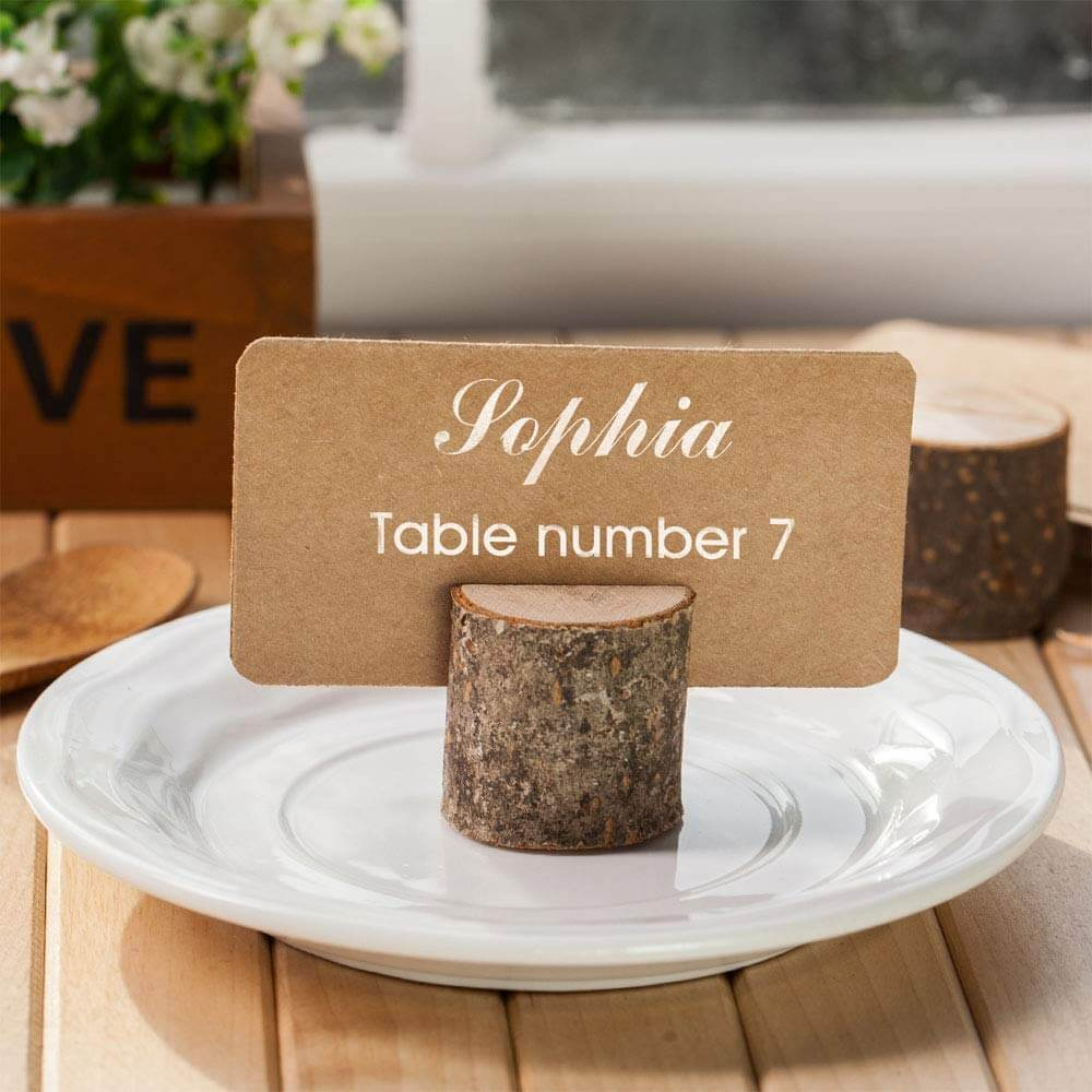 Wooden place card holders for wedding day
