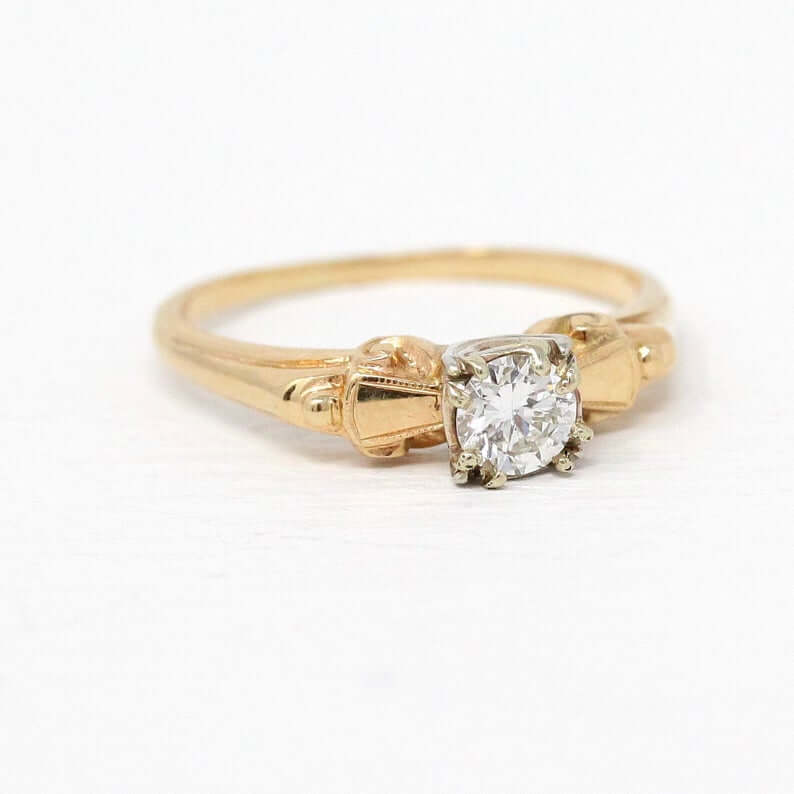 Yellow gold 1940s engagement ring