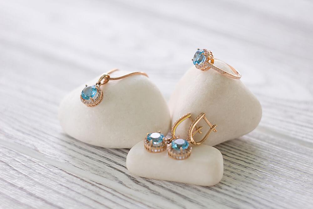 Blue zircon Jewelry set