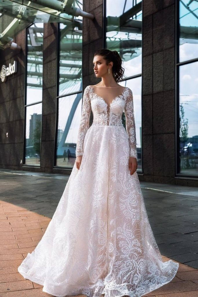 A-line wedding dress Reina Long sleeve wedding dress image 0