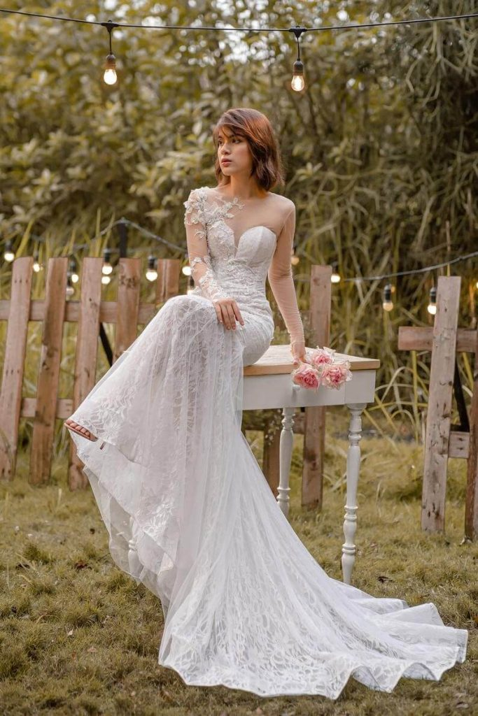 WENDY  Long sleeve mermaid wedding dress/ Elegant lace bridal image 1