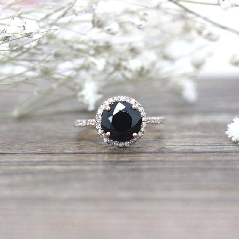 Black spinel engagement ring