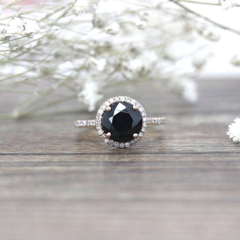Black spinel engagement ring