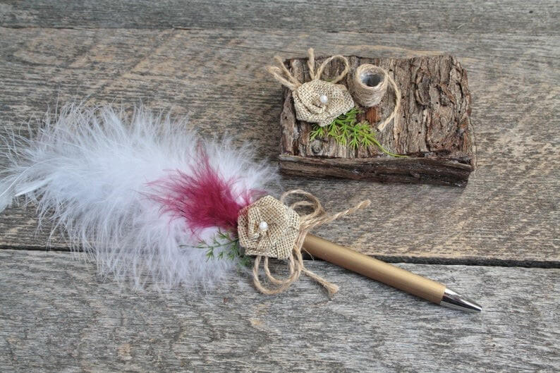 Burgundy wedding pen set Rustic chic office decor Wooden image 0