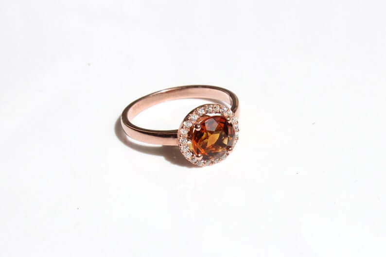 Amber engagement ring halo setting
