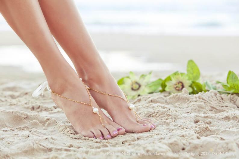Barefoot sandals for beach wedding