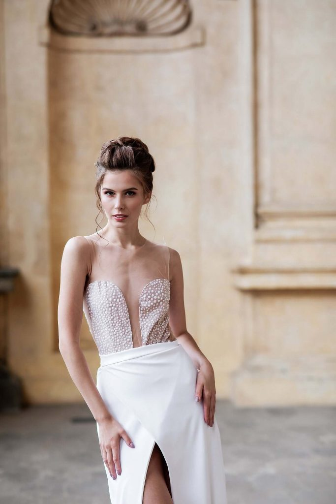 barely there bodice wedding dress