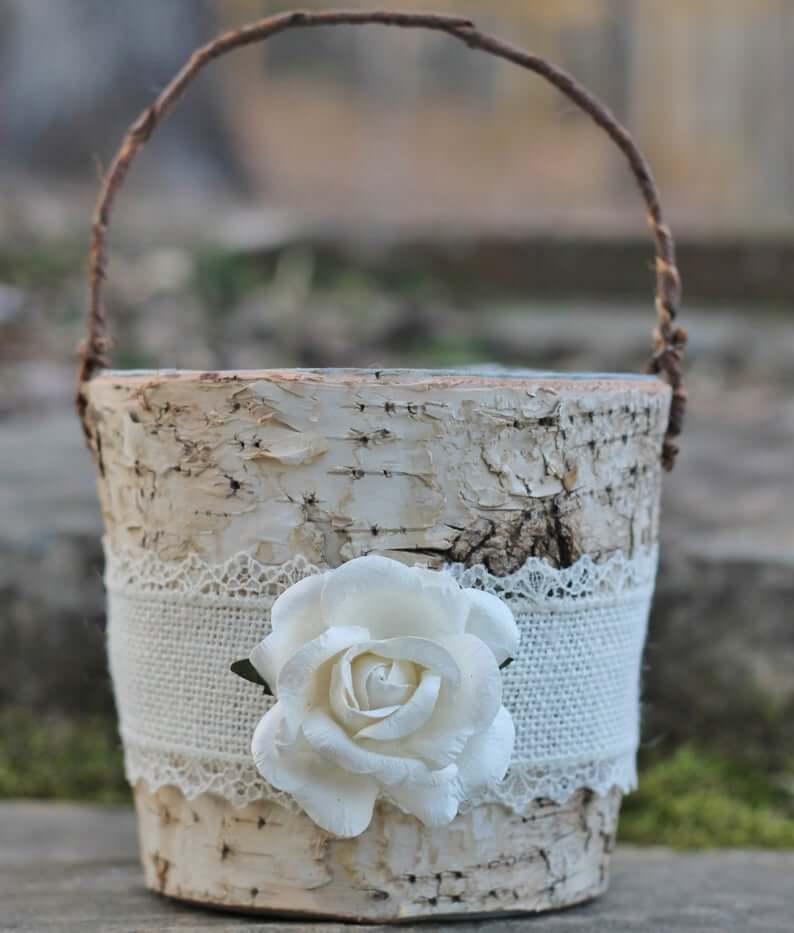 Birch wooden basket
